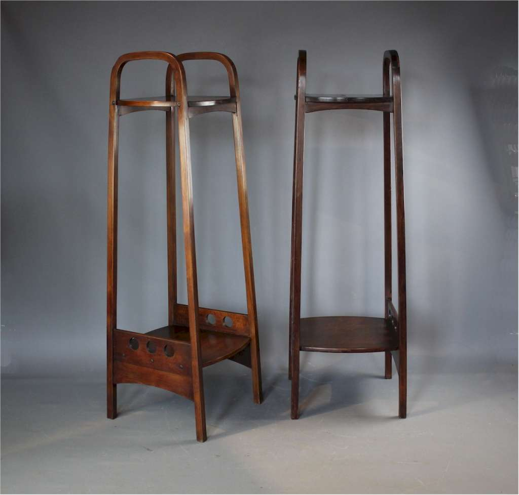 Josef Hoffmann for Thonet pair of bentwood plant stands