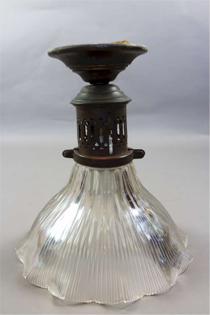 Original large Holophane glass shade with brass fitting c1920