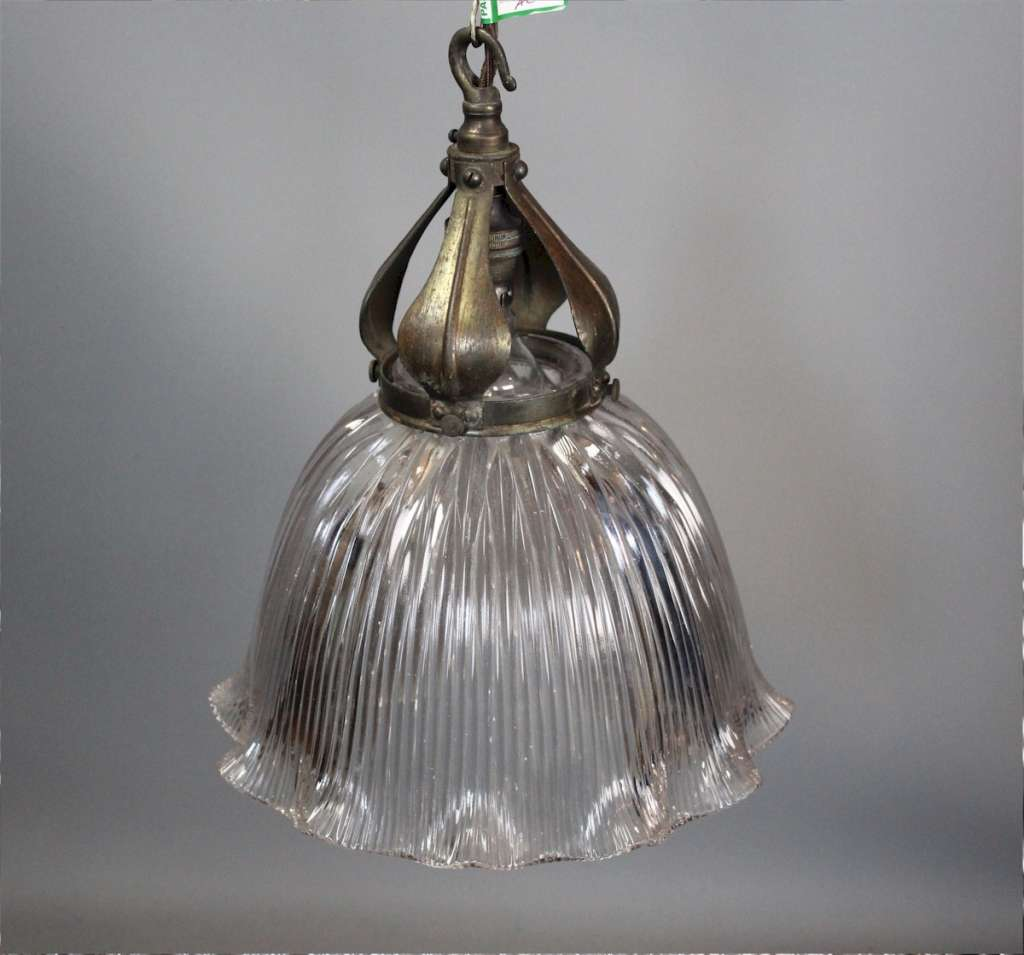 Edwardian Holophane shade with Nouveau brass fitting