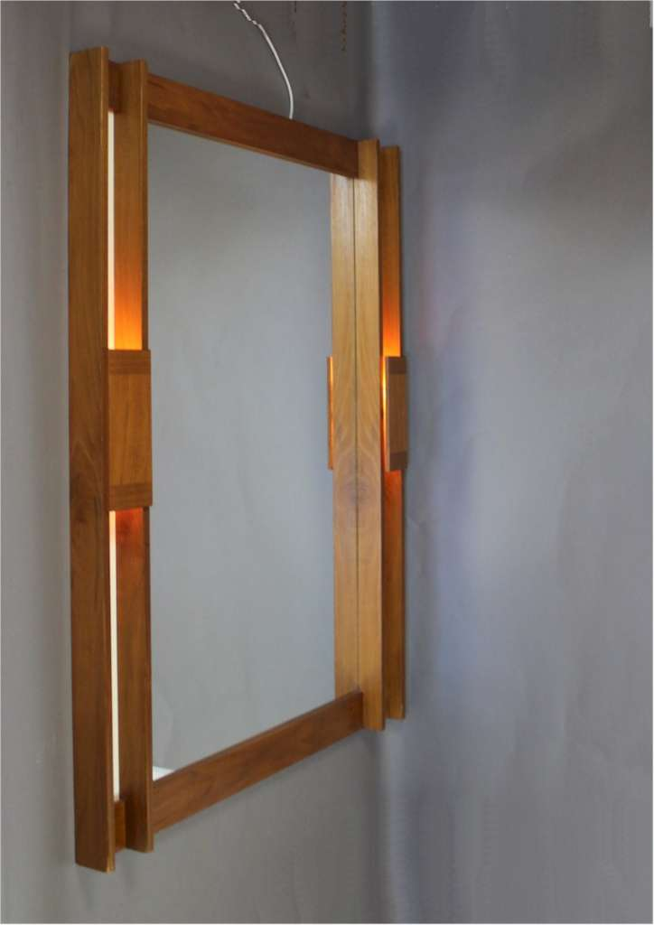 Scandinavian Mid-Century Teak illuminated wall mirror c1960's