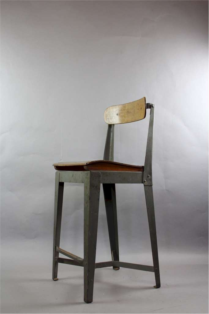 Industrial metal and plywood high chair , c1950's