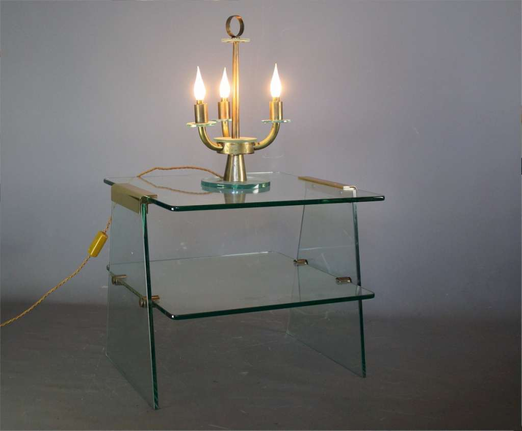 Italian 1950's glass and brass table lamp
