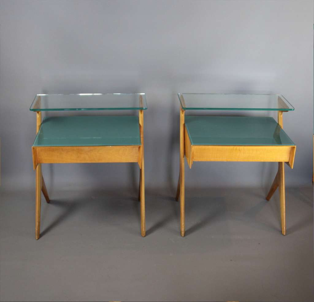 Pair of stylish Italian bedside cabinets c1950's