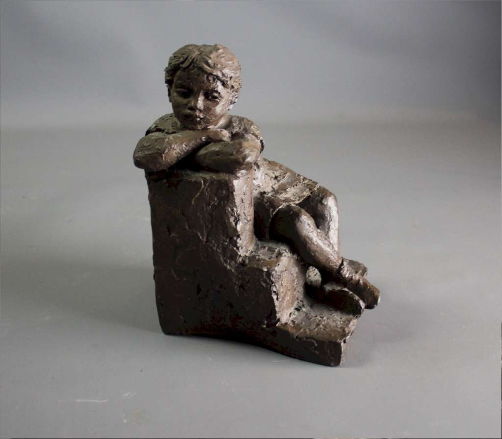 Karin Jonzen 'Girl On a Step' 1970's resin with a bronze finish