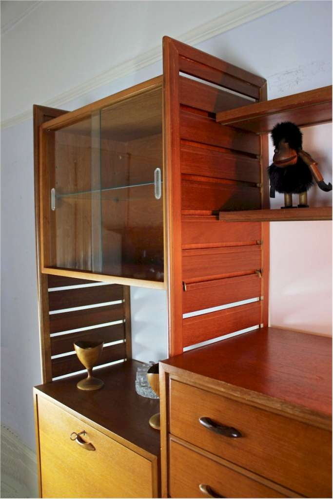 Ladderax teak shelving system by Staples