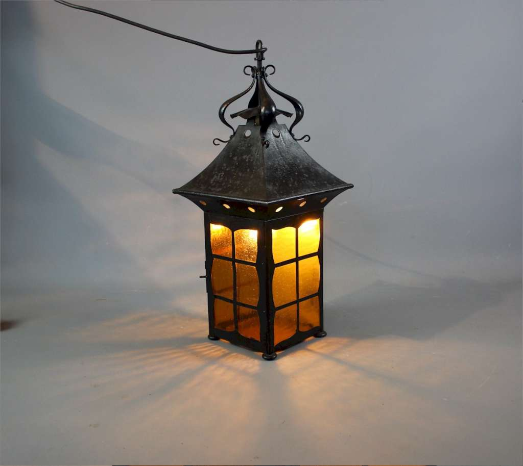 Large Arts and Crafts iron porch lantern.