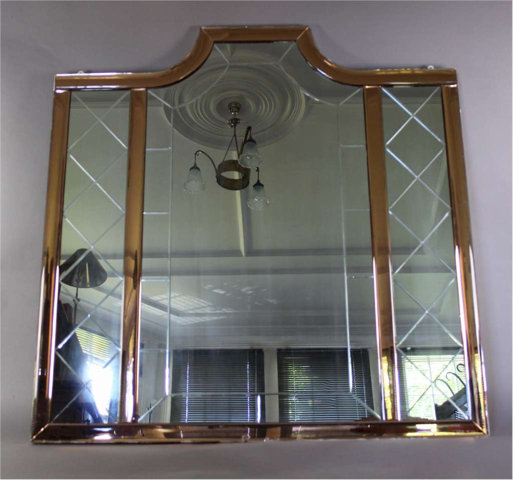 Large art deco mirror with peach borders