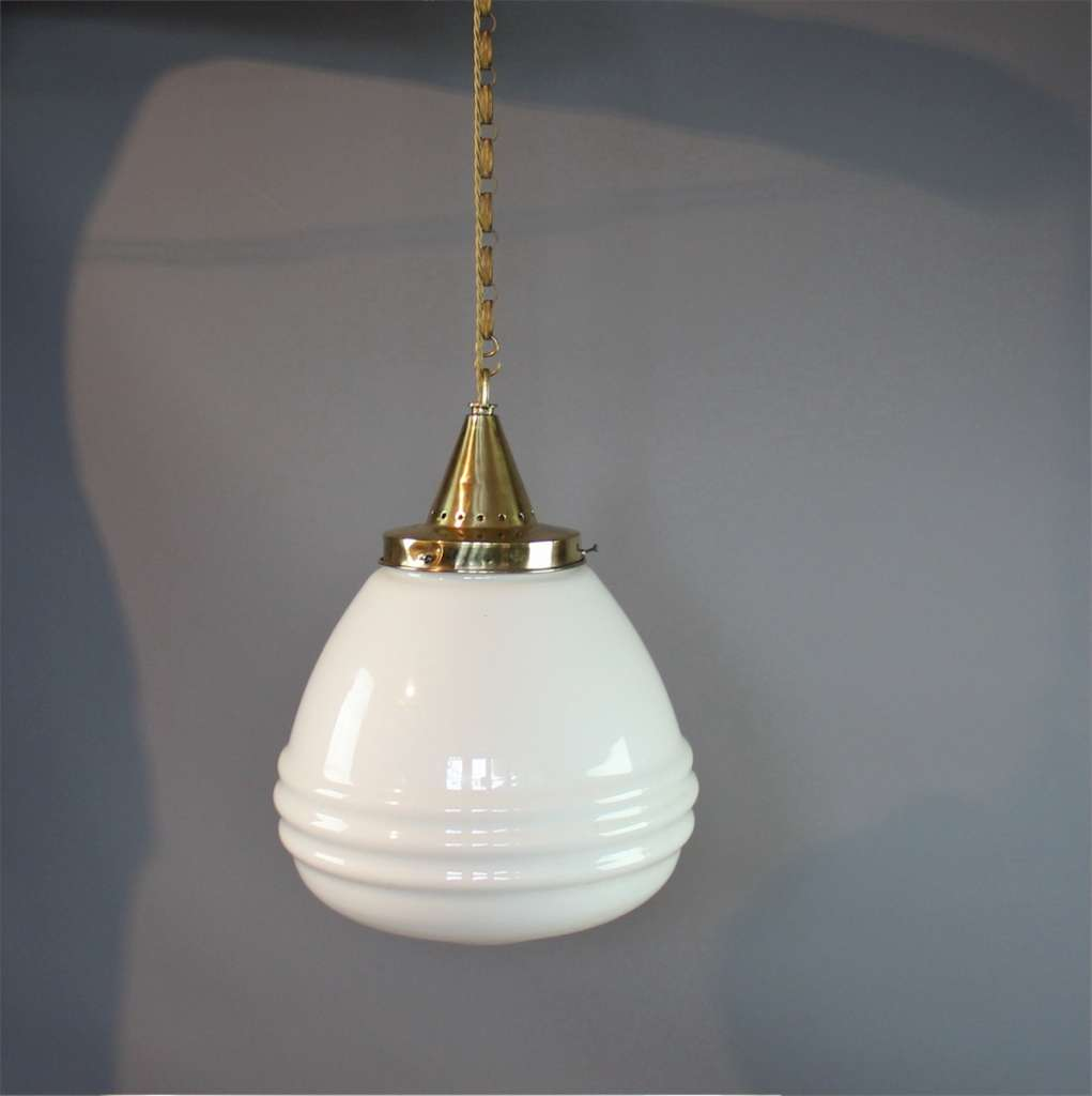 Large white opaline hanging lamp brass fitting.