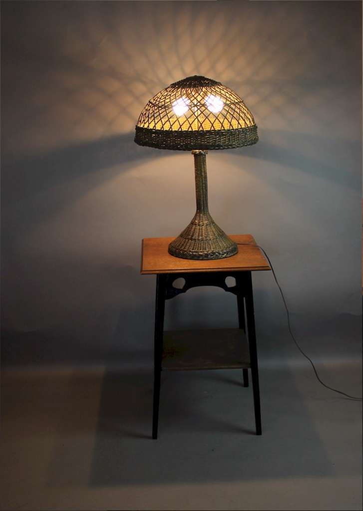 Large wicker table lamp c1920's.