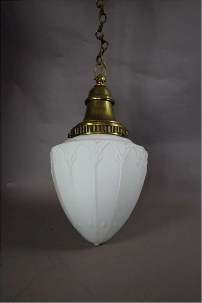 Large heavy brass and opaline glass shade with brass chain and ceiling rose