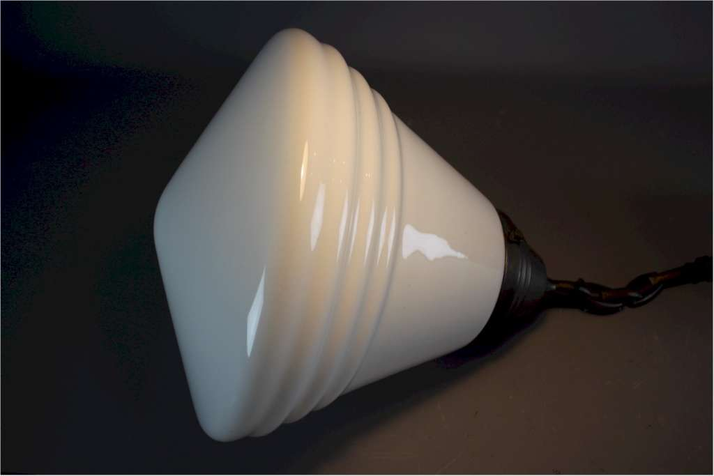 Large opaline shade with bronzed chain