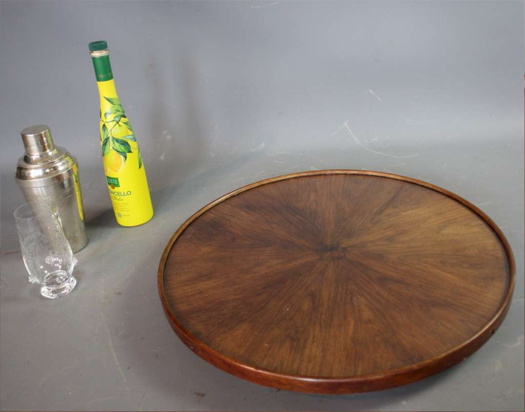 Art Deco burr walnut Lazy Susan , revolving server.