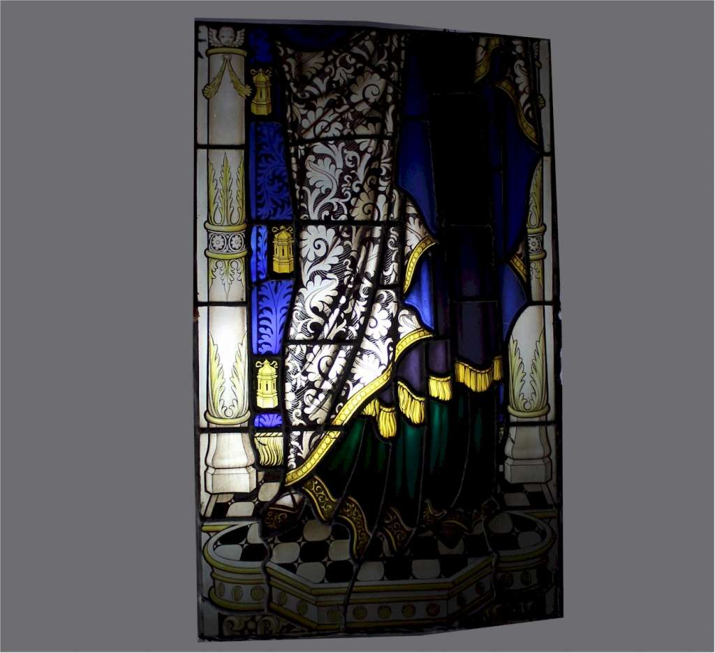 Wonderful Victorian stained glass panels Madonna and child
