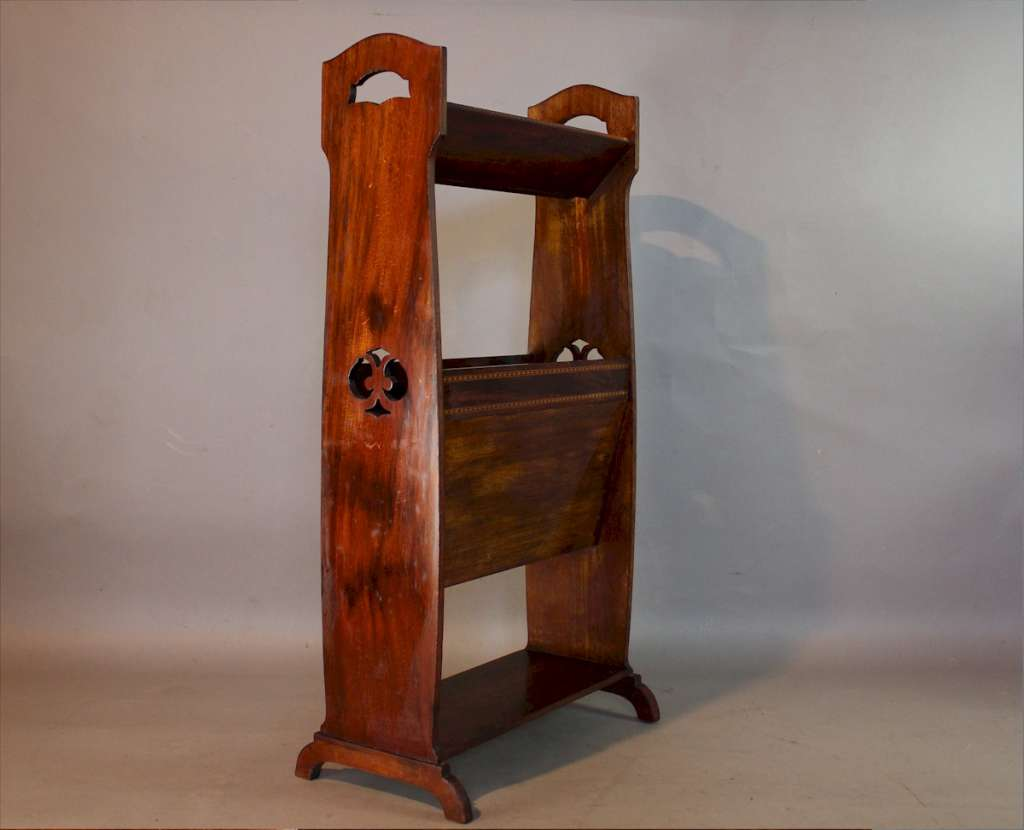 Art Nouveau mahogany book trough / magazine rack