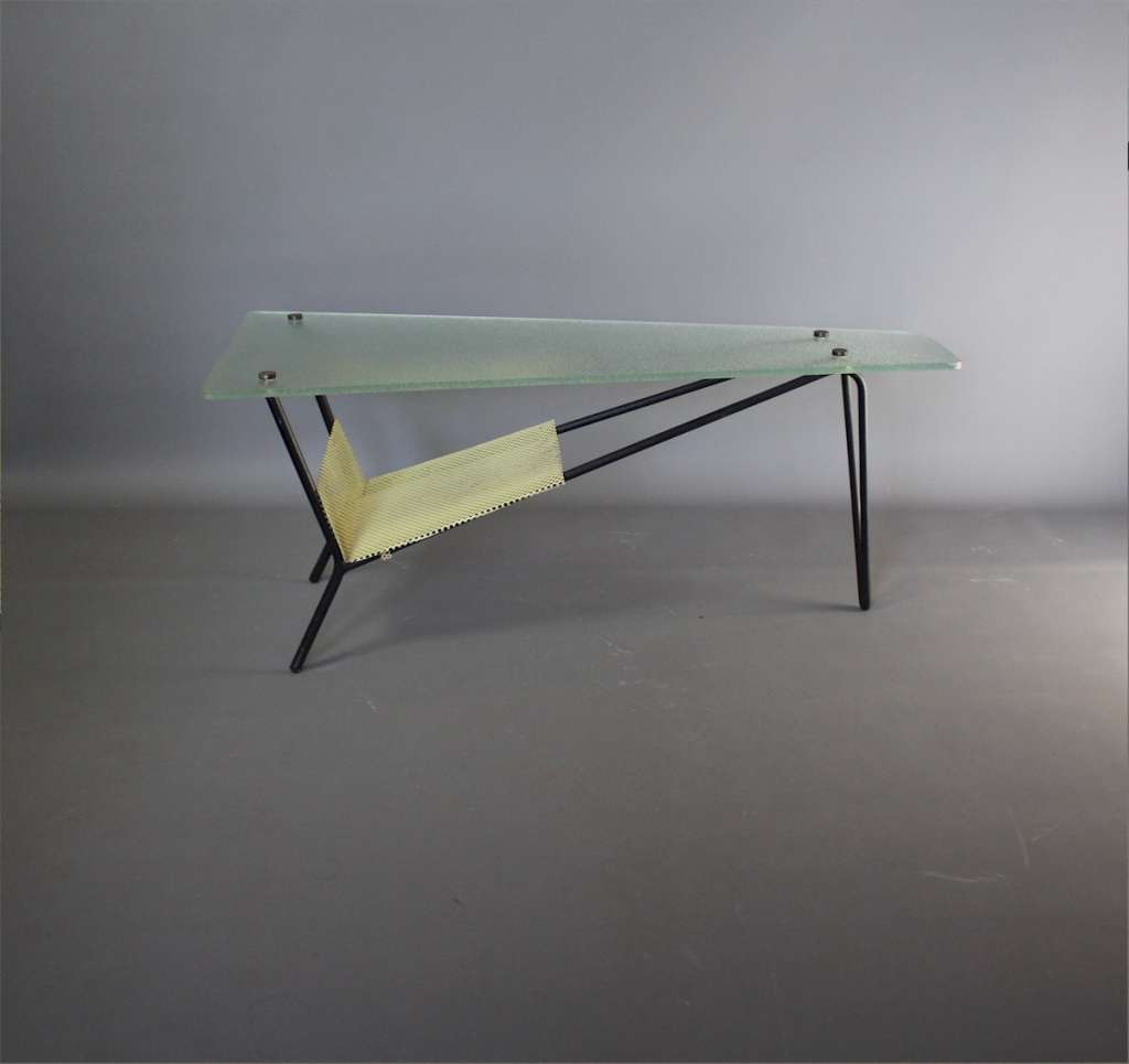 French glass coffee / end table designed by Robert Mathieu
