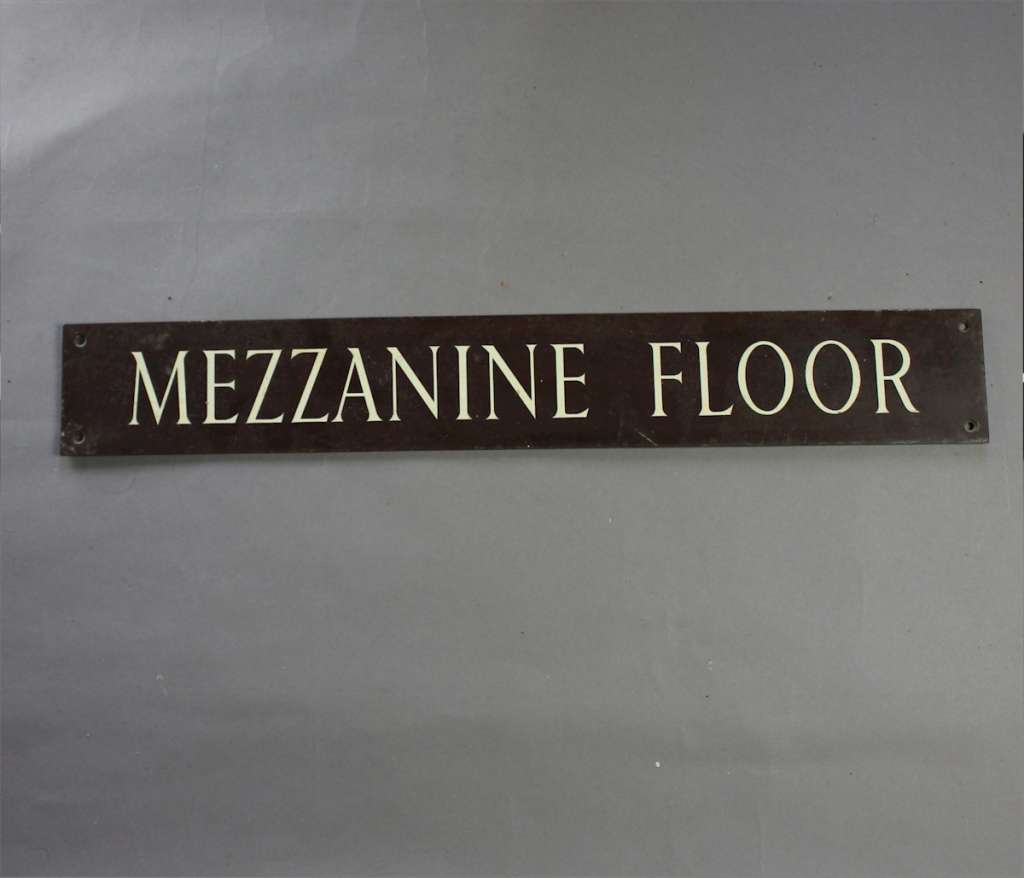 copper and enamelled Mezzanine sign, 1940's
