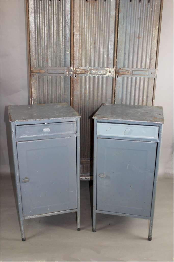 Pair of Industrial Metal Military Cabinets . c1950's . Measures 78.5 cm (31 in) high x 39.5 cm (15.5