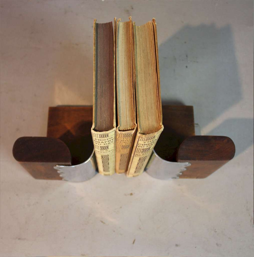 Modernist art deco pair of chrome and wood bookends c1930
