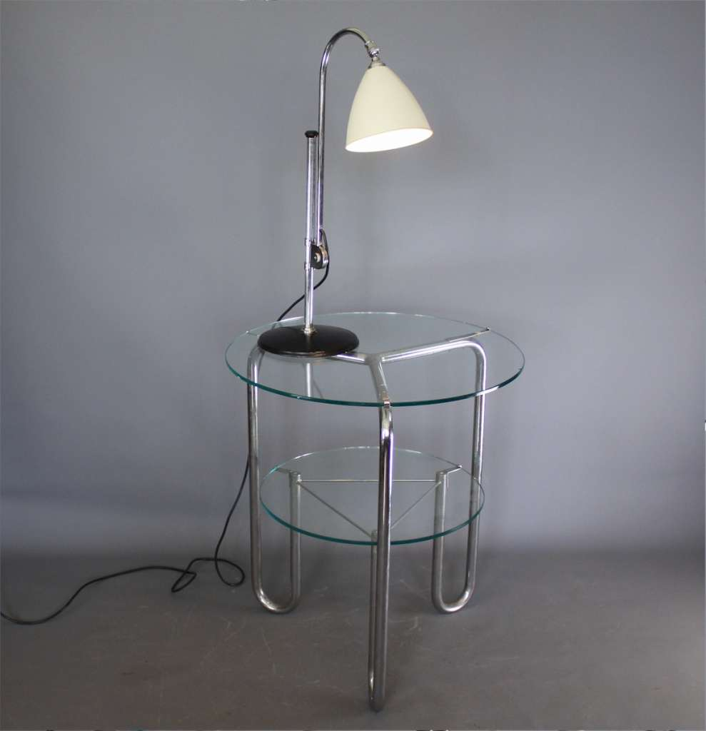 Modernist Art Deco chrome side table