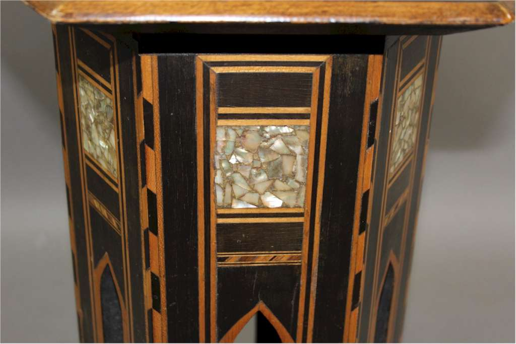 Moorish occasional table c1900 inlaid with mother of pearl