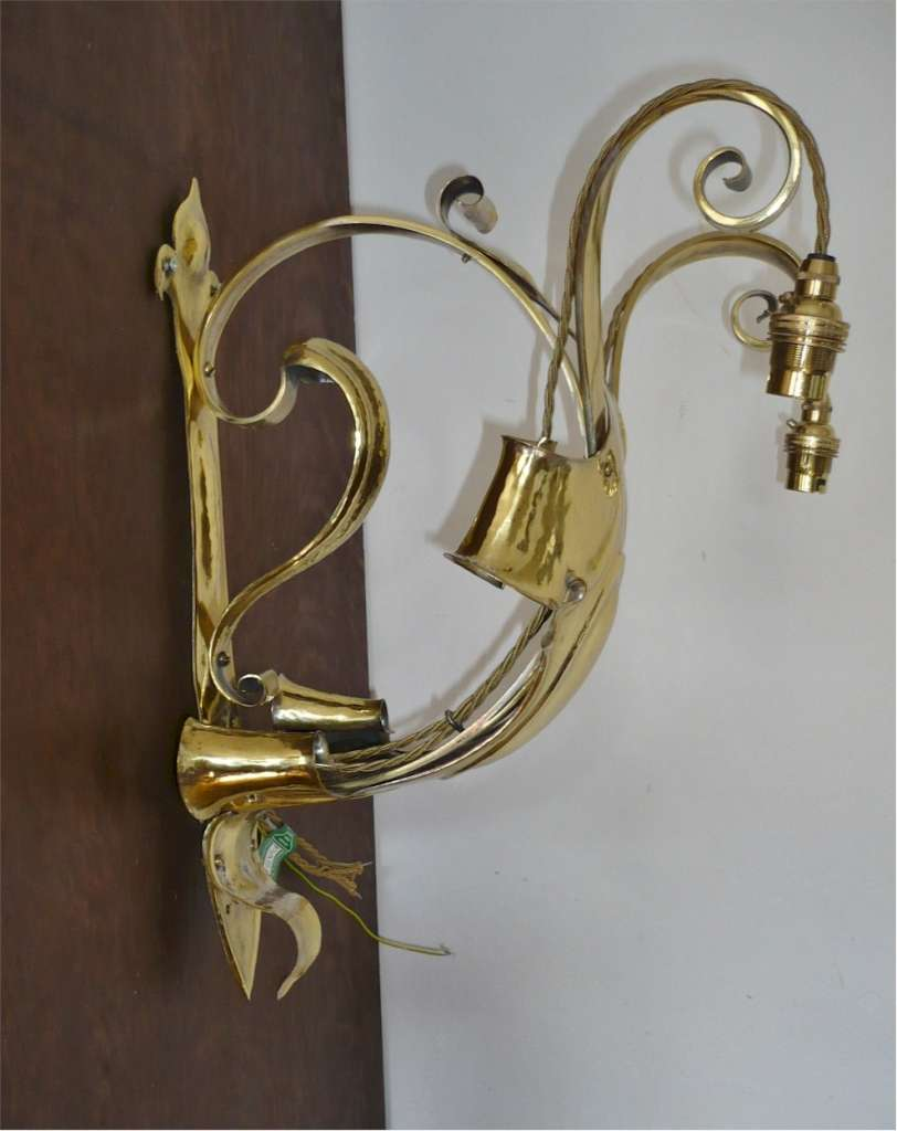 Spectacular set of 3 arts and crafts wall lights in brass