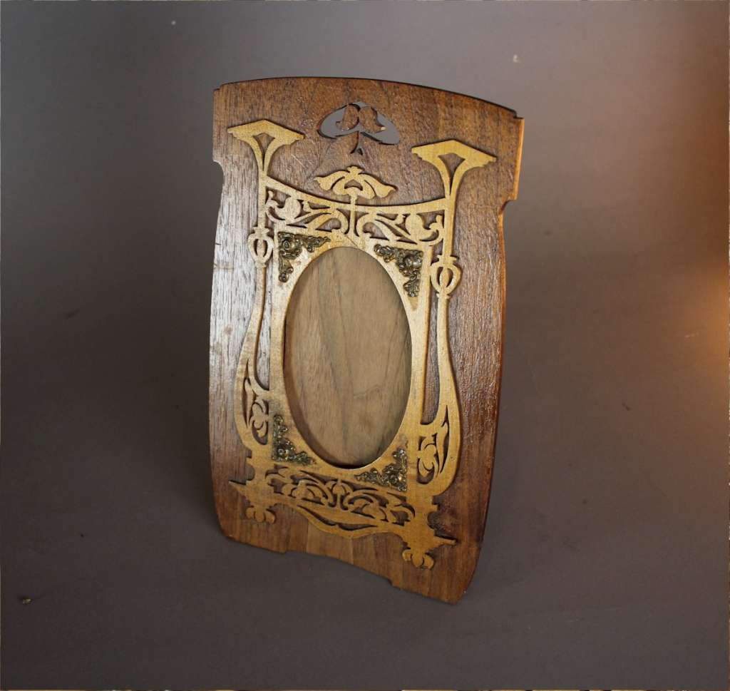 Art Nouveau fret work wooden photo frame c1900