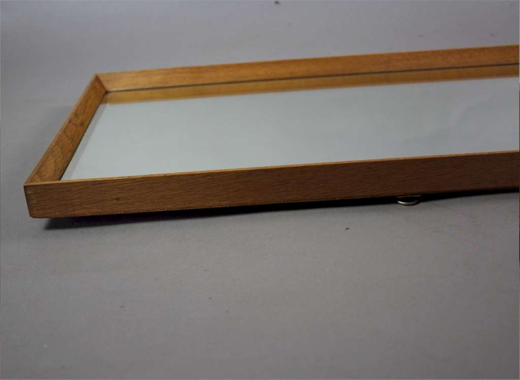 Mid century oak framed rectangular hall mirror