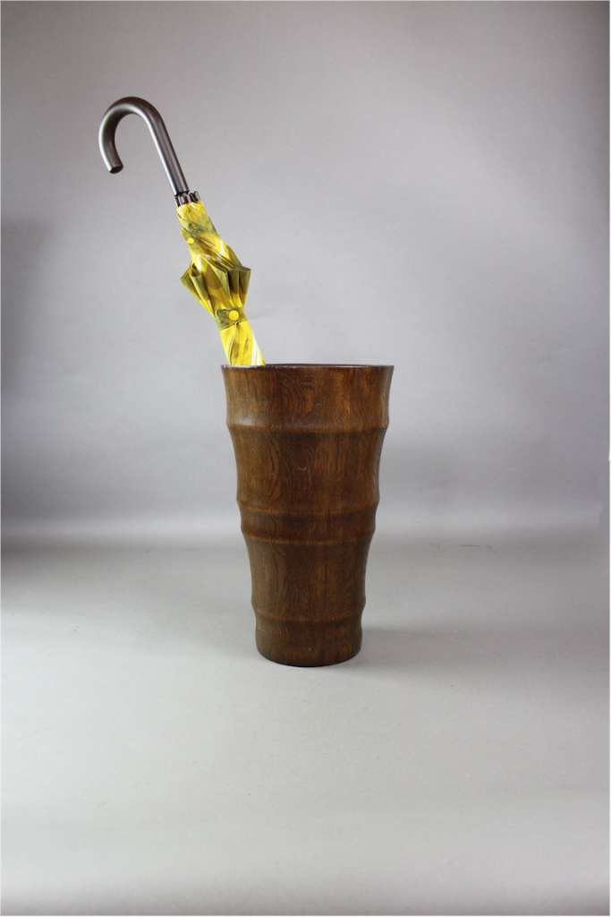 Unusual oak stick / umbrella stand of tapered form
