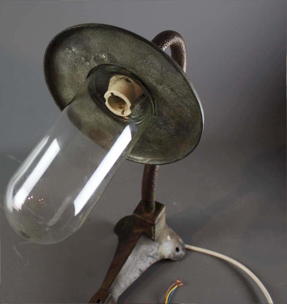 Galvanised iron swan neck corner wall light