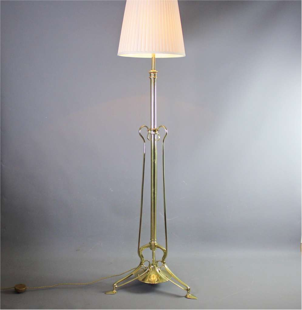 Arts and crafts brass floor lamp