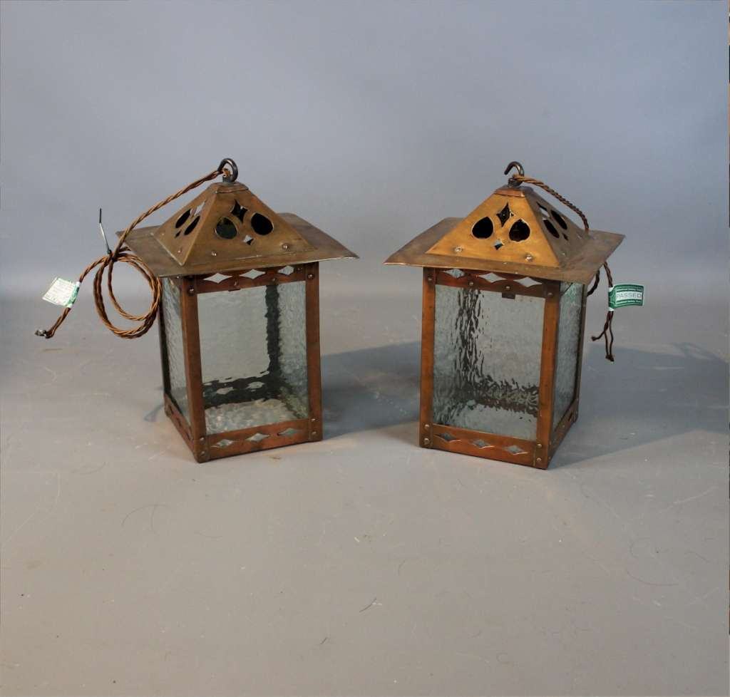 Pair of arts and crafts copper hall lanterns