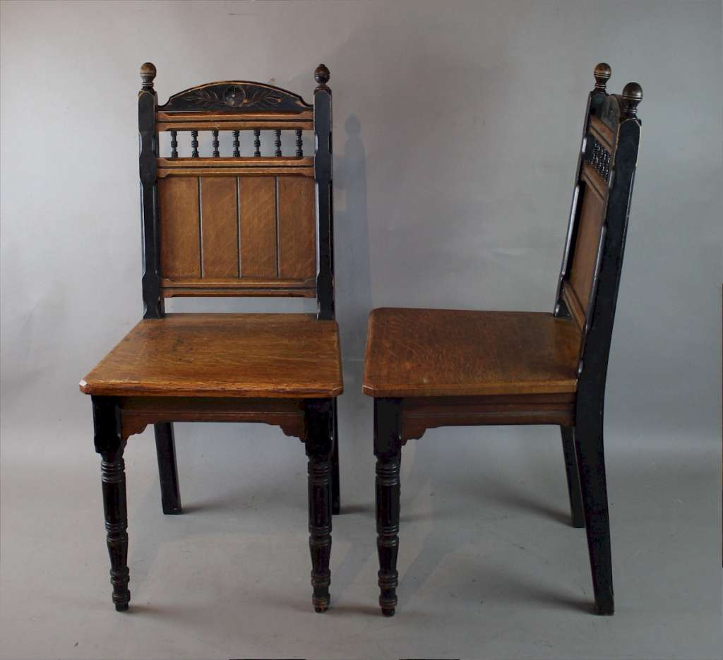 Pair of aesthetic movement hall chairs
