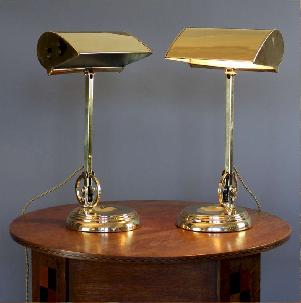 Pair of British brass bankers lamps 1930's
