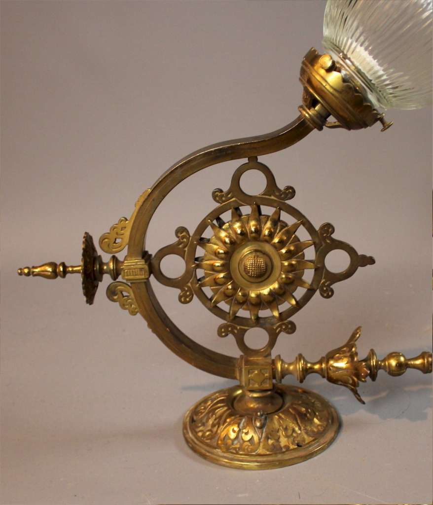 Wonderful pair of Gothic brass wall lights