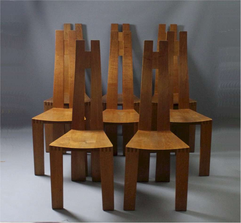 Pearl Dot set of 8 oak chairs designed by Robert Williams