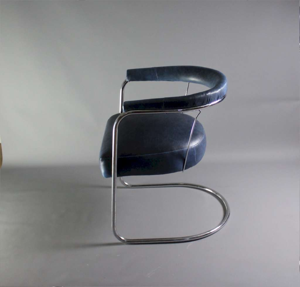 1930's Modernist chromed tubular steel chair by PEL