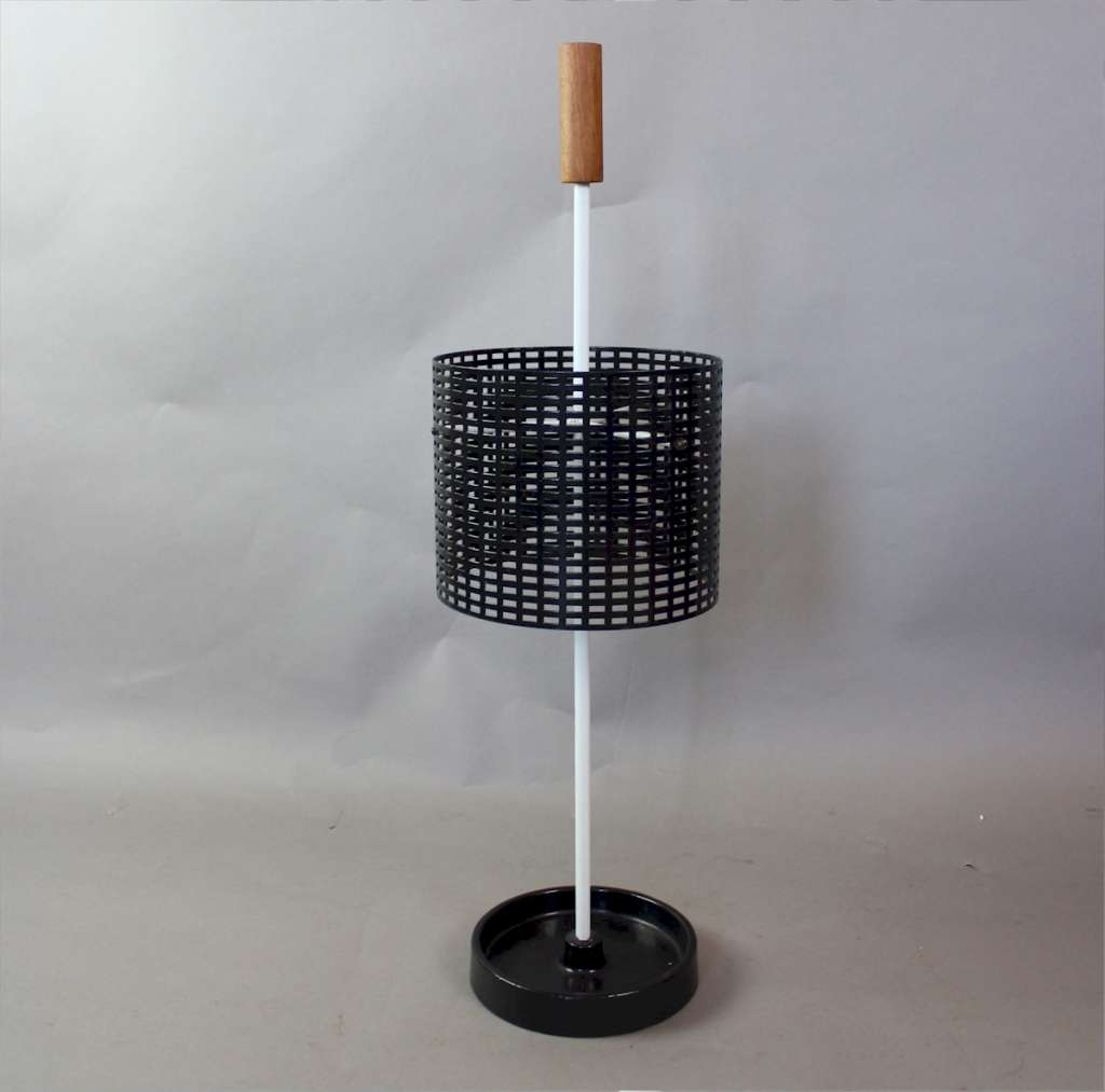 1950's Perforated black painted metal stick stand