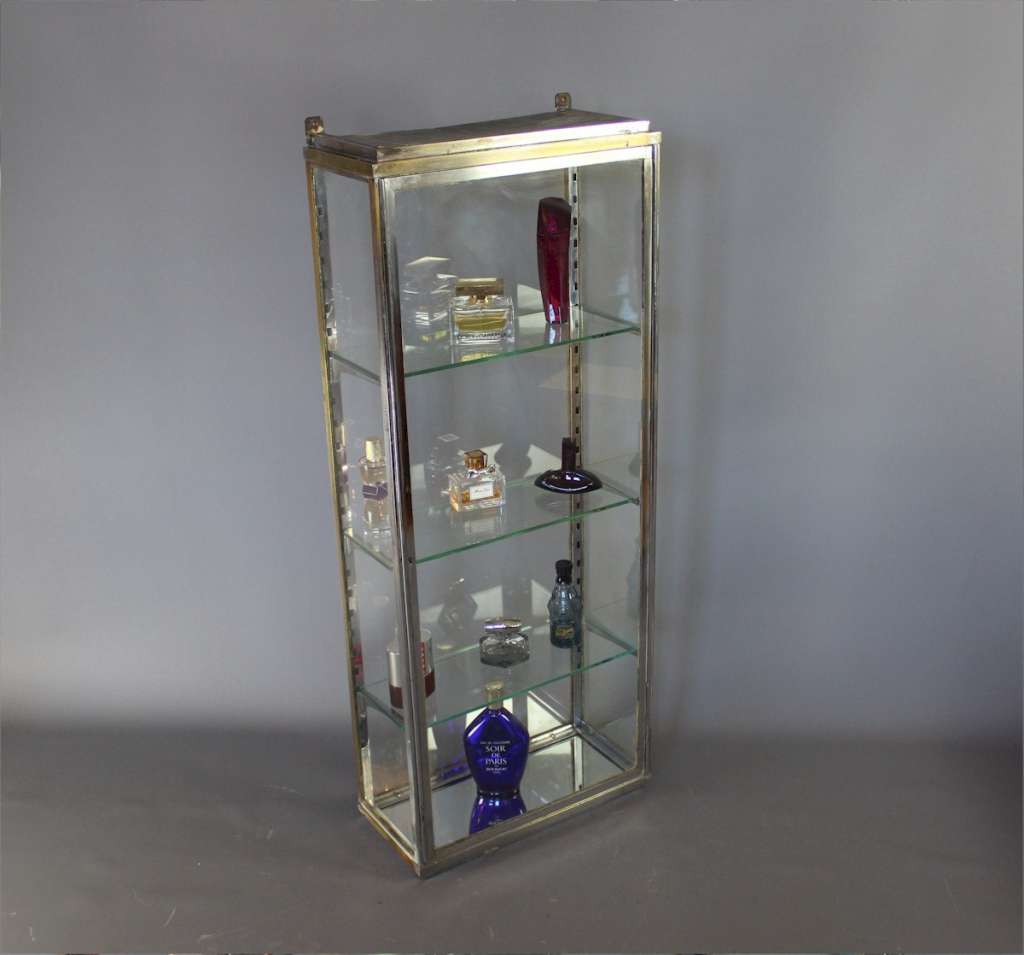 Chrome on brass Edwardian perfume display cabinet