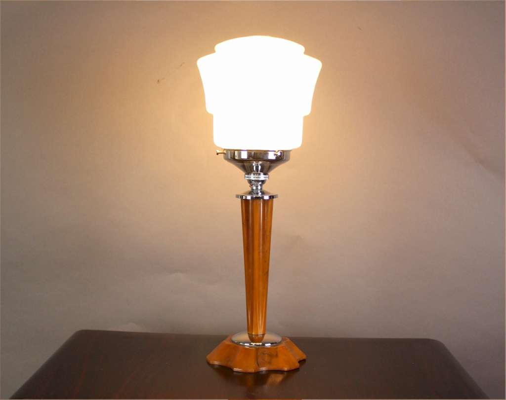 Art Deco phenolic and chrome table lamp