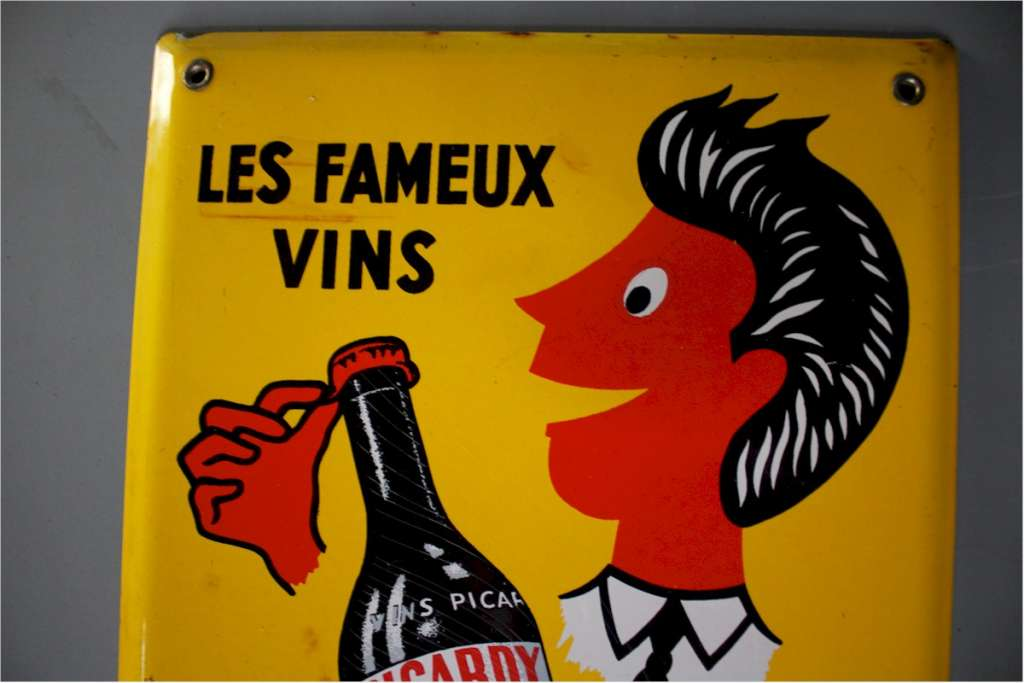 French enamel sign Picardy with bottle
