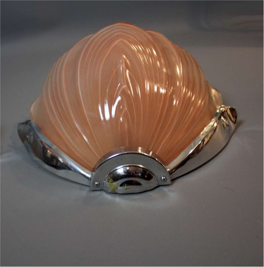 Pair of art deco pink shell wall lights