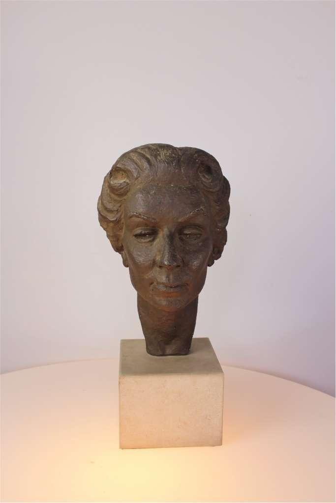 1950's Plaster figure of a woman's head signed V Thura