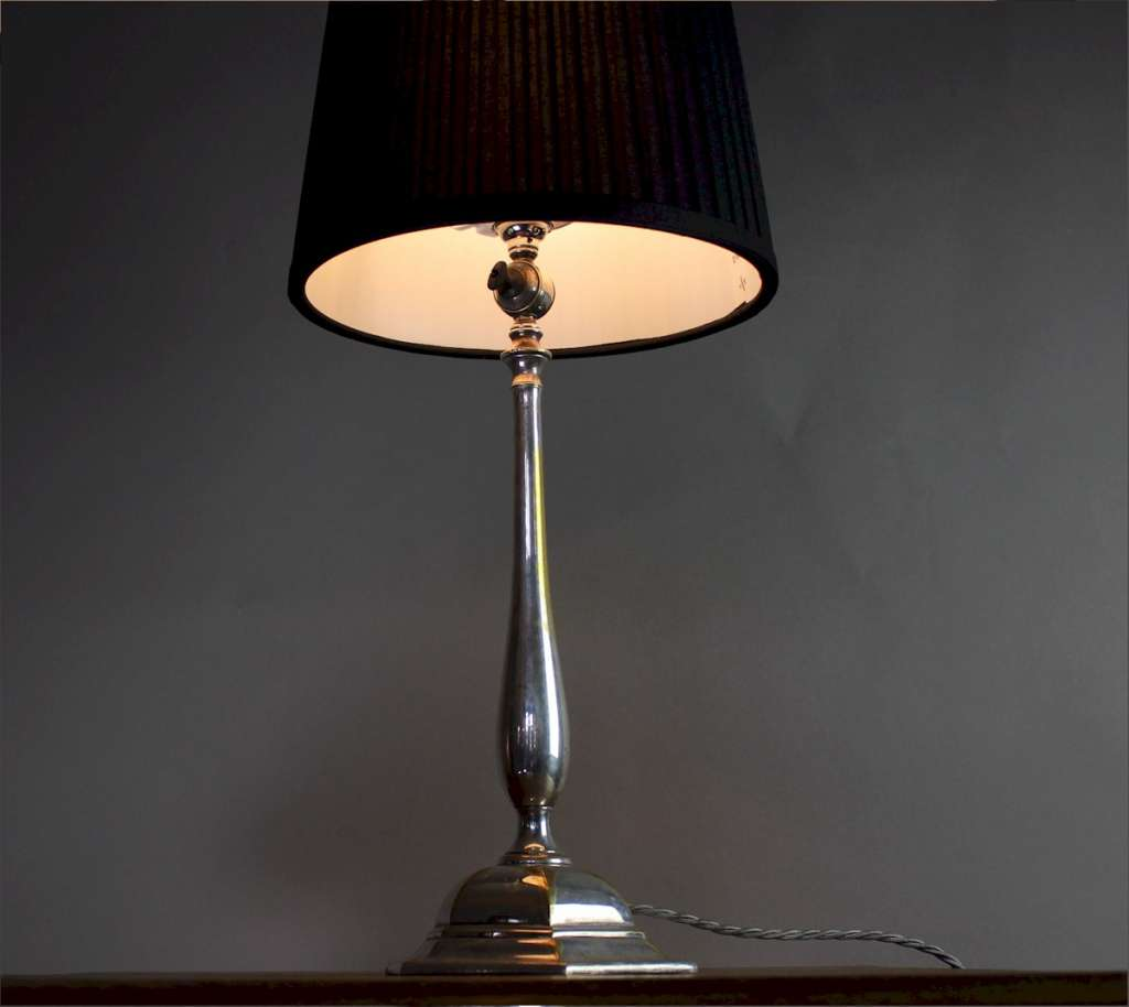 Elegant and slender arts and crafts table lamp by Faraday