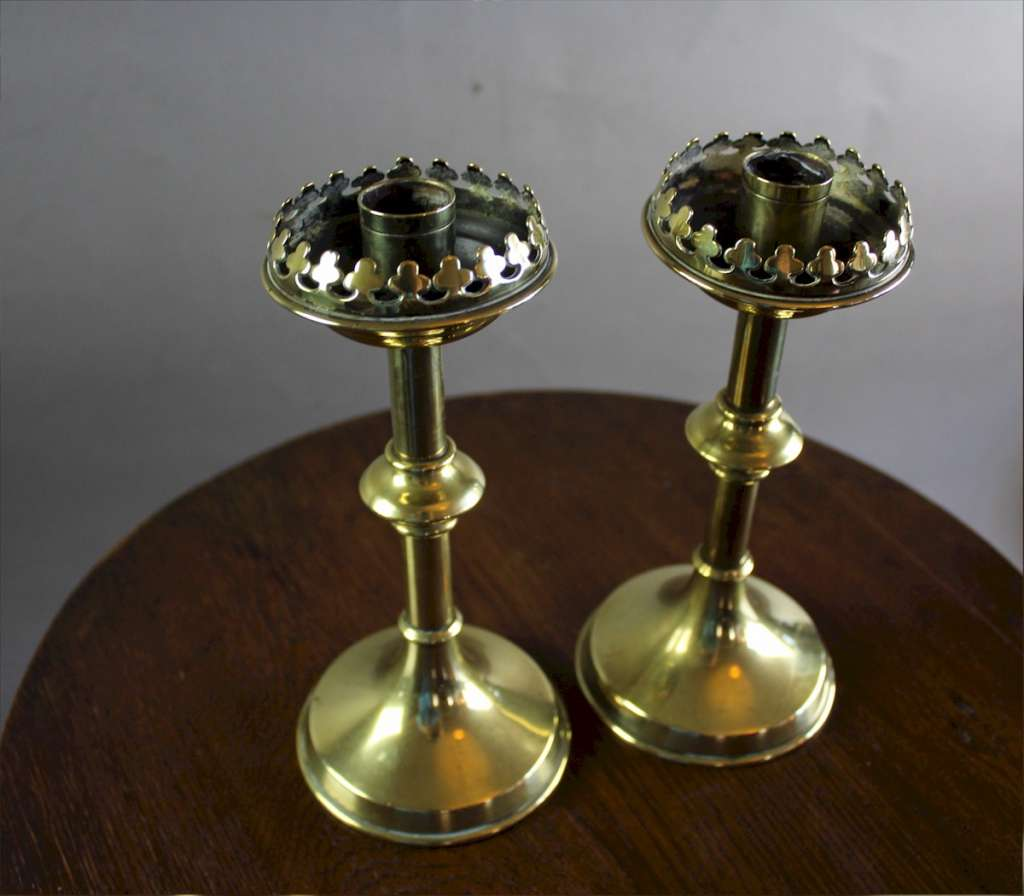 Pair of Victorian Gothic brass candlesticks c1890's