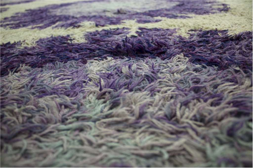 1970's rug by Rya .Scandinavian, purple flower heads