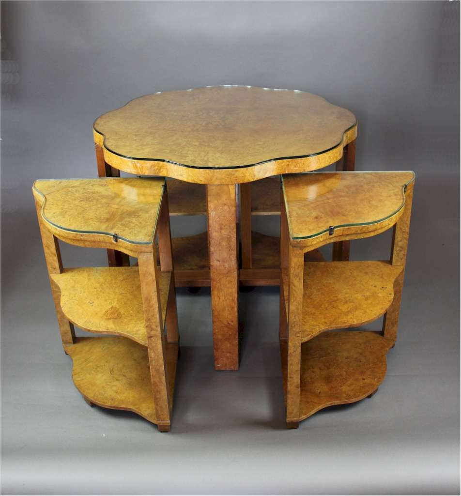 Blonde Art Deco quintetto nest of five tables by Epstein