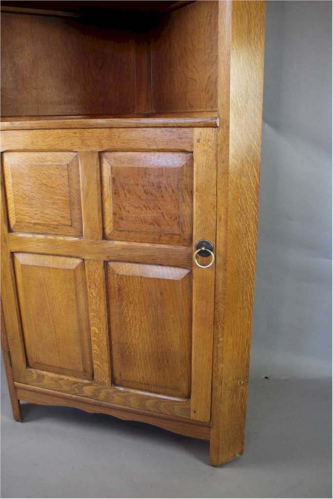 Arts and Crafts corner cupboard by Reynolds in golden oak