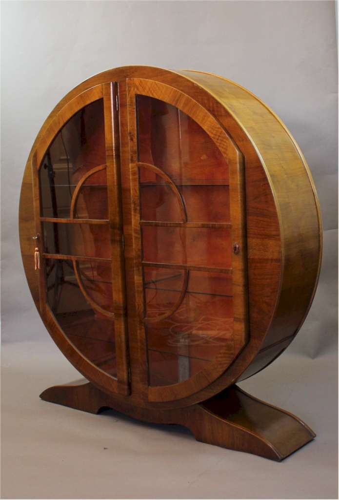 Art Deco walnut circular display cabinet