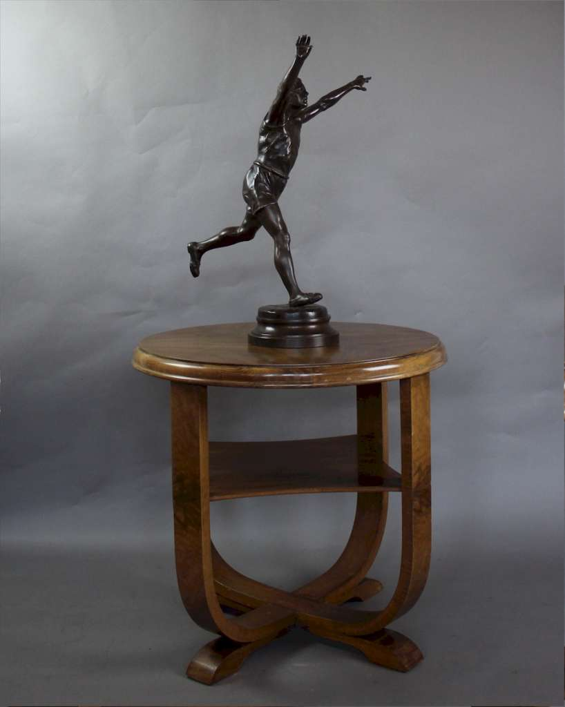 Emile Carlier spelter figure of a runner