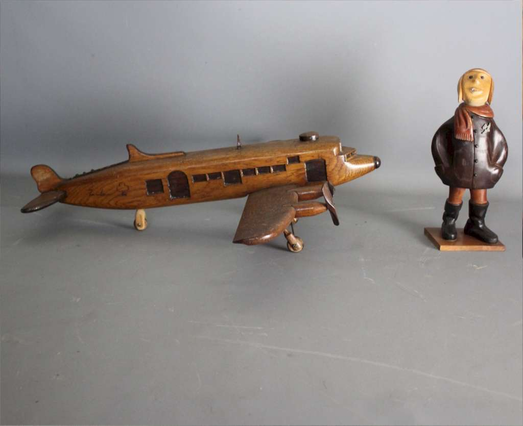 Scratch built  wooden plane with four propellers